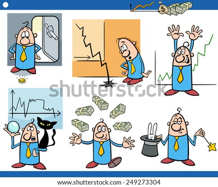 Cartoon Illustration Set of Funny Business Concepts and Metaphors - stock photo