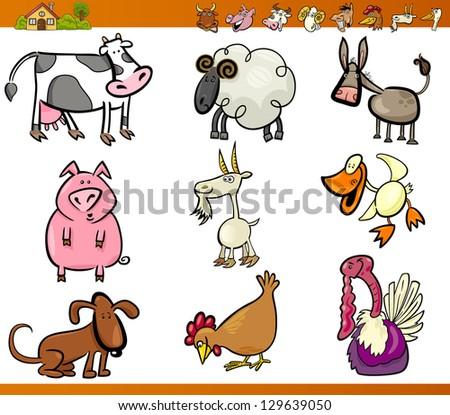 Cartoon Illustration Set of Funny Farm and Livestock Animals isolated on White - stock photo