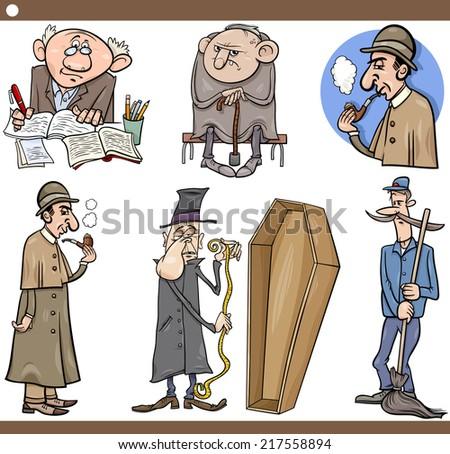 Cartoon Illustration Set of Retro People Characters - stock photo