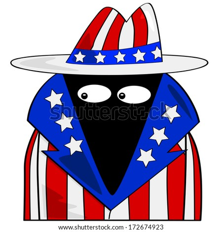 Cartoon illustration showing a spy dressed in clothes with the colors of the United States flag