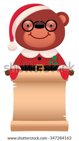 Cartoon illustration Teddy bear Santa Claus with Christmas scroll isolated on white background/Teddy bear Santa Claus with a scroll Christmas/Cartoon illustration