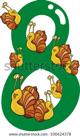 cartoon illustration with number eight and snails - stock photo