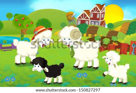 Cartoon illustration with sheep family on the farm - illustration for the children