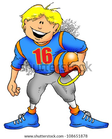 Cartoon Image of a Kid Getting Ready to Play Football. - stock photo
