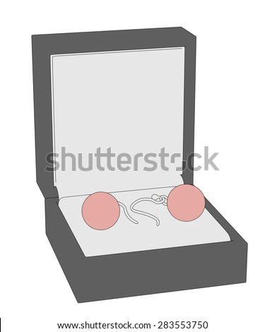 cartoon image of earrings in boxes - stock photo