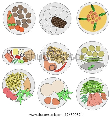 cartoon image of food on plates
