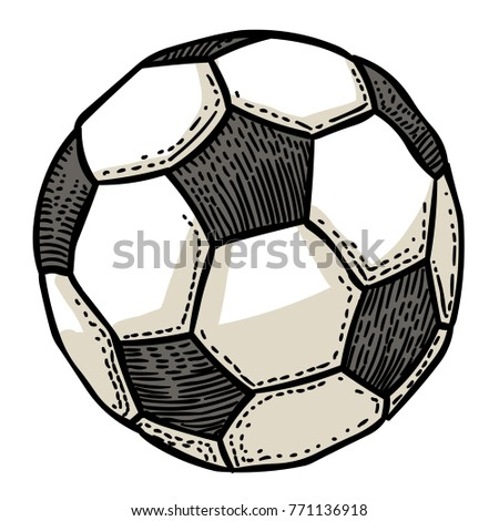 Cartoon image of Football ball Icon. Soccer ball pictogram. An artistic freehand picture.