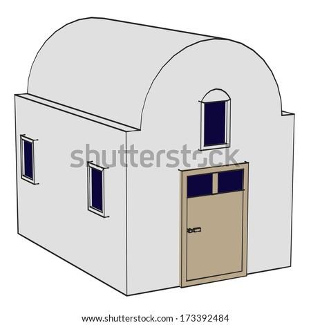 cartoon image of greek house - stock photo