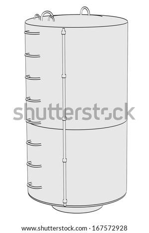 cartoon image of industrial building - stock photo
