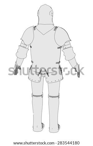 cartoon image of medieval armor - stock photo