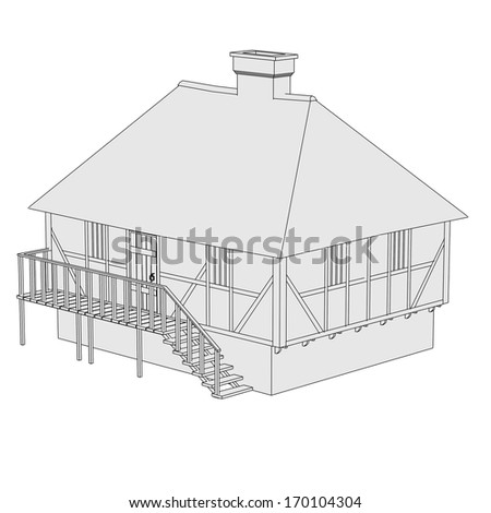 cartoon image of medieval house