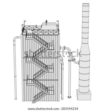 cartoon image of oil refinery - stock photo