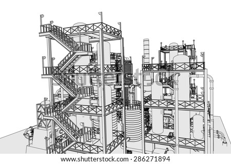 cartoon image of oil refinery - stock photo