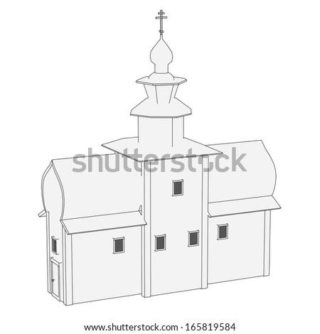 cartoon image of russian house - stock photo