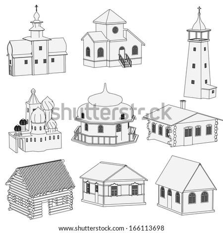 cartoon image of russian houses - stock photo