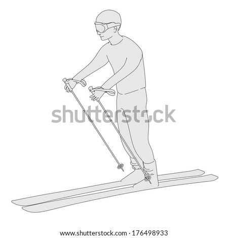 cartoon image of skier character