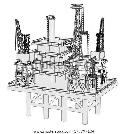 cartoon image of water rig - stock photo