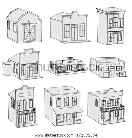 cartoon image of western houses - stock photo