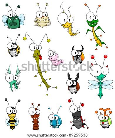 Cartoon insects (raster illustration) - stock photo