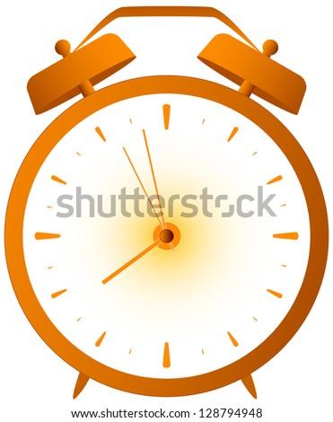 cartoon isolated red retro alarm clock - stock photo