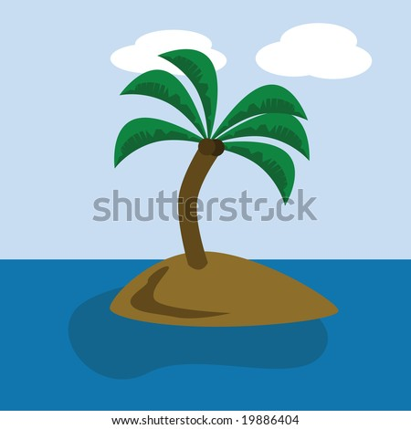 Cartoon jpeg illustration of a desert island with a coconut tree