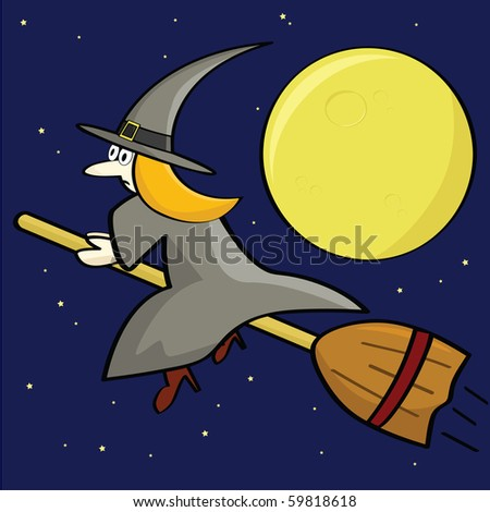 Cartoon jpeg illustration of a witch flying on her broom in front of a full moon