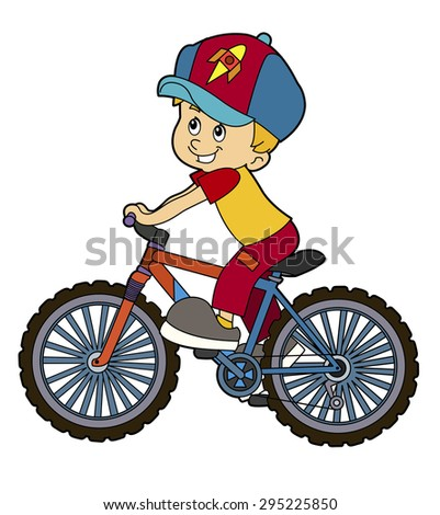 Cartoon kid riding bicycle - illustration for the children - stock photo