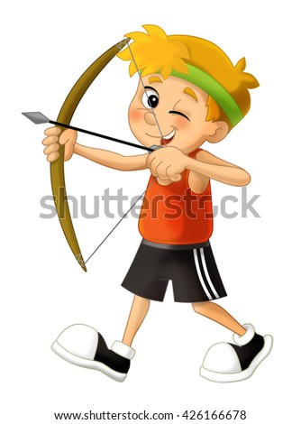 Cartoon kid shooting - bow - archer - isolated - illustration for the children - stock photo