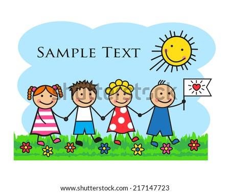 cartoon kids go through grass holding stock illustration 217147723 rh shutterstock com Cartoon Hand Holding Something cartoon child holding hands