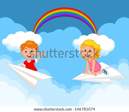 Cartoon kids on a paper plane - stock photo