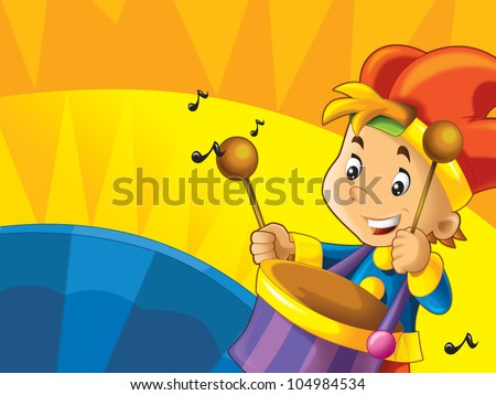 Cartoon kids  with instruments - musical signs and happiness on colored dynamic background 2 - stock photo