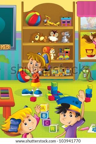 Cartoon kindergarten 1 - stock photo