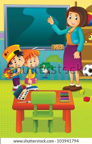 Cartoon kindergarten 3 - stock photo