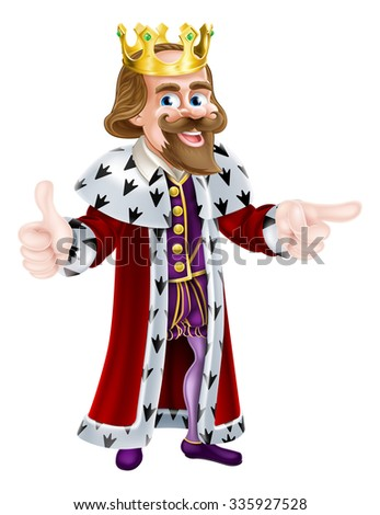 Cartoon king character illustration wearing a crown giving a thumbs up with one hand and pointing with the other - stock photo