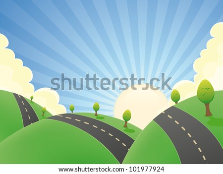 Cartoon Landscape Road In The Summer/ Illustration of a cartoon rounded road snaking in a spring or summer landscape with  hills of fields and grass
