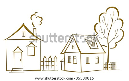 cartoon, landscape: two houses with a tree, monochrome symbolical pictogram
