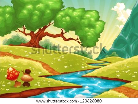Cartoon landscape with stream. Raster illustration. - stock photo