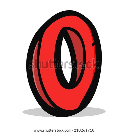 cartoon letter O - stock photo