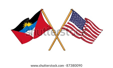 cartoon-like drawings of flags showing friendship between Antigua and Barbuda and USA