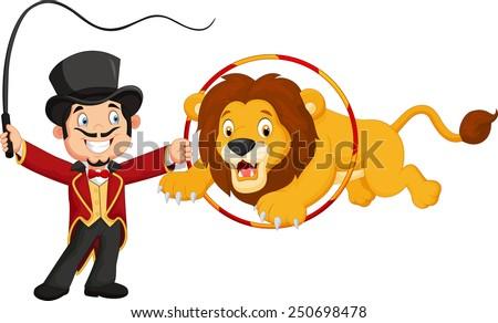 Cartoon lion jumping through ring - stock photo