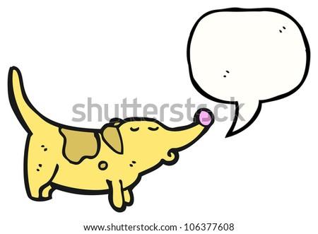 cartoon little dog with speech bubble, - stock photo