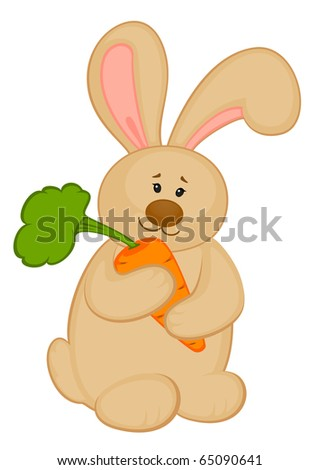 cartoon little toy bunny with carrot