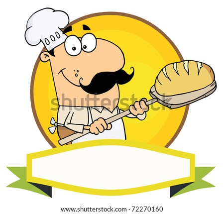 Cartoon Logo Mascot-Bread Baker Man - stock photo