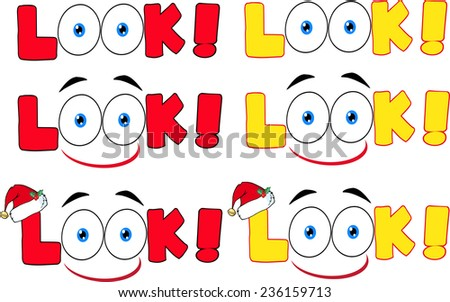 Cartoon Look Text With Santa Hat And Eyes. Raster Collection Set