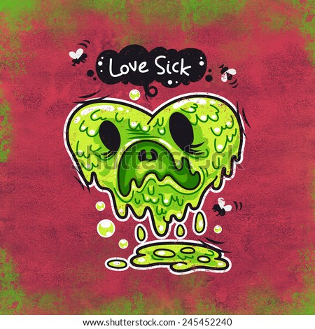 Cartoon Love Sick Monster for Humor Valentine's Day Design or T-Shirt Print - stock photo