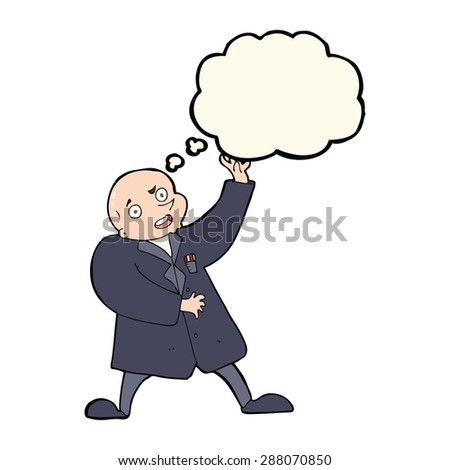 cartoon mad scientist with thought bubble - stock photo