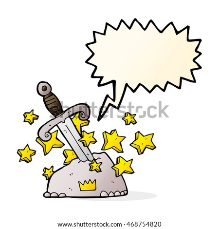 cartoon magical sword in stone with speech bubble
