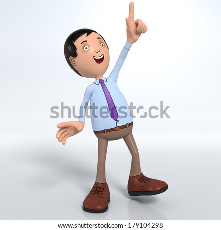 Cartoon male professional office worker in blue shirt and tie pointing up enthusiastically - stock photo