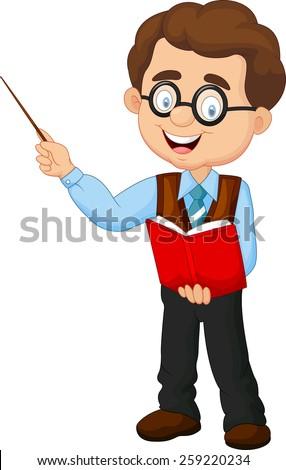 Cartoon male teacher - stock photo