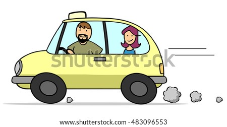 Cartoon man as taxi driver in cab with female passenger